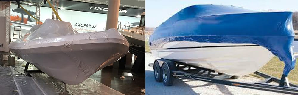 marine boat shrink wrapping blue 2
